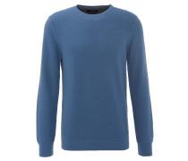 Pullover, strukturiert, Baumwolle, Ripp-Bündchen, Blau