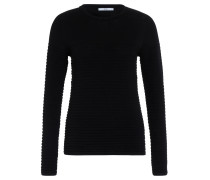 Pullover, breit gerippt, Rundhals, Schwarz