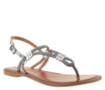 Sandalen, Flecht-Optik, Metallic-Look, Leder, Blau