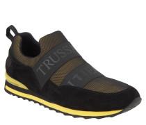 Sneaker, elastische Bänder, Mesh, Schwarz