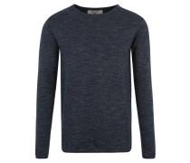 Pullover, Strick, meliert, Rollsäume, Grau