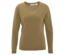 Pullover, Kaschmir, V-Ausschnitt, Rippbündchen, Gelb