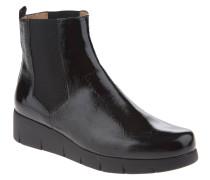 Chelsea-Boots, Lack-Leder, Plateau-Sohle, Schwarz