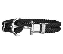 Ankerarmband PHREP IP Silber Nylon Schwarz