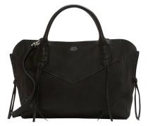 Handtasche, Leder, Fransen, Schwarz