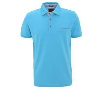 Poloshirt, Piqué-Struktur, Brusttasche, Baumwolle, Blau