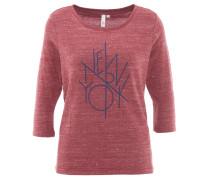 Shirt, 3/4-Arm, leicht, meliert, Print, Rot