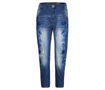 Jeans, Blumen-Stickerei, Used-Optik, Boyfriend-Schnitt, Blau