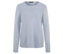 Pullover, Strickmuster, Rollsaum, Seitenschlitze, Blau