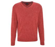 Pullover, meliert, V-Ausschnitt, Rot