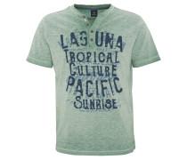 T-Shirt, Print, Flammgarn-Optik, halbe Knopfleiste, Grün