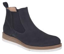 Chelsea Boots, Leder, Plateau, Elasthan, Blau