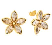 Ohrstecker Blume mit Kristallen gelbvergoldet