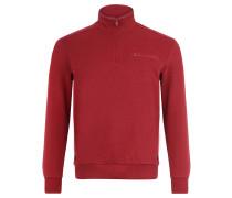 Sweatshirt, Ripp-Struktur, Stehkragen, Brusttasche, Rot