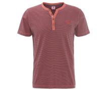 T-Shirt, gestreift, Rundhalsausschnitt, Knopfleiste, Baumwolle, Rot