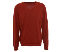 "Pullover ""Vico"", Schurwolle, Feinstrick, V-Ausschnitt, Rot"