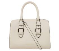 Handtasche, Schnallen-Detail, Prägung, Weiß