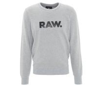 Sweatshirt, Baumwoll-Mix, Label-Print, meliert, Grau