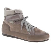 Sneaker, Klettverschluss, Lack-Elemente, hoher Schaft, Grau