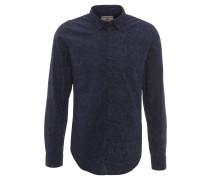 Freizeithemd, Punkte-Muster, Baumwolle, Blau