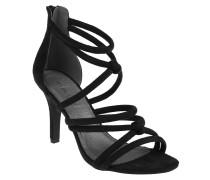 Sandaletten, Reißverschluss, Pfennigabsatz, Schwarz