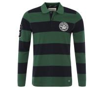 Poloshirt, Langarm, Baumwoll-Piqué, sportive Embleme, Grün