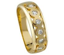 Diamant-Ring 375 Gelb mit 6 Diamanten, zus. 0