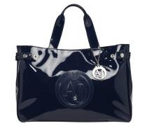 Handtasche, Lackleder-Optik, Logo-Prägung, Blau