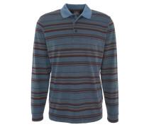 Poloshirt, Langarm, gestreift, Brusttasche, Blau