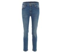Jeans, Used-Look, gerader Schnitt, Baumwolle