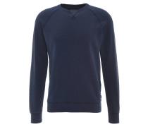 Sweatshirt, uni, Ziernähte, Rippbündchen, kleiner Print, Blau