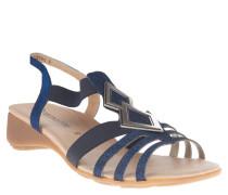 Sandaletten, Glitzer-Riemen, Keilabsatz, Leder-Futter, Blau