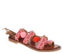 Sandalen, Perlen, Bommel, Deko-Steine, lange Schnürsenkel, Rot