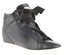 Sneaker, Keilabsatz, breite Schnürsenkel, Schwarz