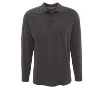 Polo-Shirt, Langarm, Brusttasche, feines Muster, Schwarz