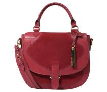 "Handtasche ""Haven"", Veloursleder, Lack, Anhänger, Rot"