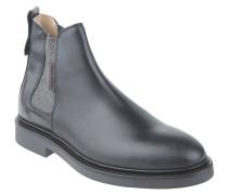 Chelsea Boots, Glattleder, Blockabsatz, Zugschlaufe, Schwarz