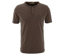 T-Shirt, uni, Brusttasche, Henley-Ausschnitt, Baumwolle, Braun
