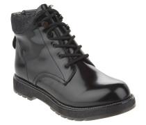 Boots, Lackleder-Optik, Reißverschluss, Glitzer, Schwarz