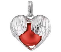 Anhänger, Herz mit Flügel, Silber, Rot, ERP-05-WINGHEART