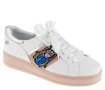 """Sneaker """"Bianca"""", Leder, Emblem, Aufnäher, Weiß"""