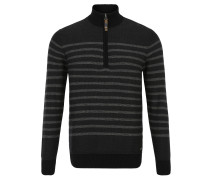 Pullover, Stehkragen, Reißverschluss, Streifen-Look, Grau