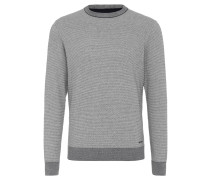 Pullover, meliert, Baumwolle, abgesetzte Bündchen, Grau