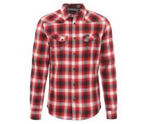 Freizeithemd, kariert, zwei Brusttaschen, Baumwolle, Rot