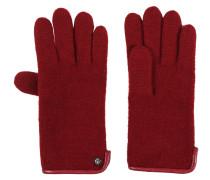 Handschuhe, Wolle, Leder-Details, Perlen-Dekor