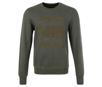 Sweatshirt, Baumwoll-Mix, Emblem, Oliv