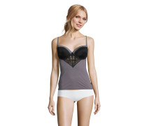 Unterhemd, integrierter BH, Spitze, Streifen-Design, Schwarz