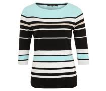 Shirt, 3/4-Arm, Rundhals, Streifenmuster, Baumwolle, Türkis