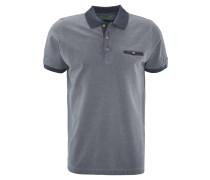 Poloshirt, Brusttasche, Kontrastfarben, Blau