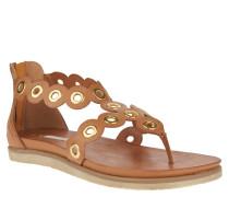 Sandalen, Logo-Prägung, Nieten, Reißverschluss, Leder-Optik, Braun